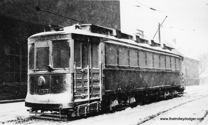 """As we near the end of summer here in Chicago, we will leave you with this wintry scene of CSL 1455. Don's Rail Photos says, """"1455 was built by CUT in 1900 as CUT 4504. It was rebuilt as 1455 in 1911 and became CSL 1455 in 1914. It was rebuilt as (a) salt car and renumbered AA67 on April 15, 1948. It was retired on August 17, 1951."""" (Joe L. Diaz Photo)"""