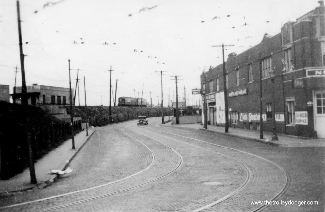 "Chicago Avenue in Evanston. (Edward Frank, Jr. Photo, George Trapp Collection) Miles Beitler adds, ""This photo shows a two car North Shore Line train on the Shore Line route."""