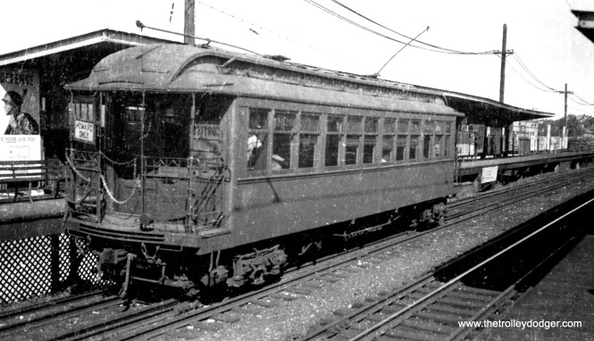 CRT 1029, originally numbered 29, was built by Pullman in 1899 for the Northwestern Electric Railway. It is seen here on the Evanston branch. Brian M. Hicks says this is a southbound train at Dempster. (George Trapp Collection)
