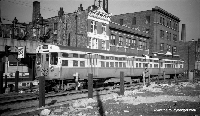 CTA 6041-6042 at Western Avenue on the Van Buren temporary trackage, February 22, 1955. This rerouting, caused by Congress expressway construction, had a lot to do with the demise of the CA&E.