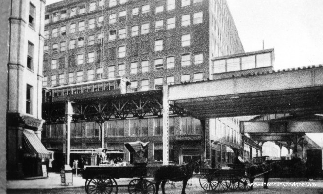 An ancient view of Lake and Market, showing where the Market Street stub branched off. (George Trapp Collection)