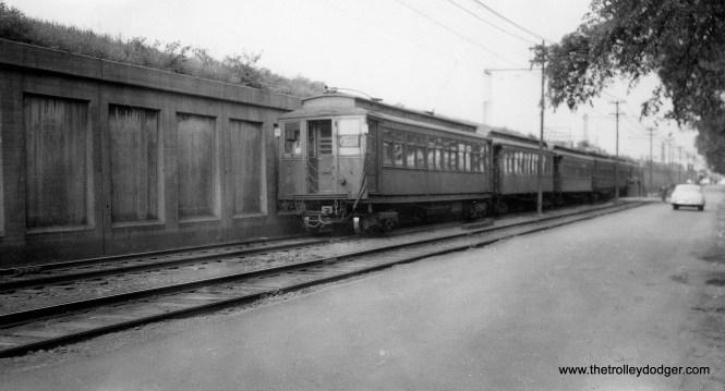"A westbound Lake ""A"" train in 1950s Oak Park. (Joe L. Diaz Photo, George Trapp Collection)"