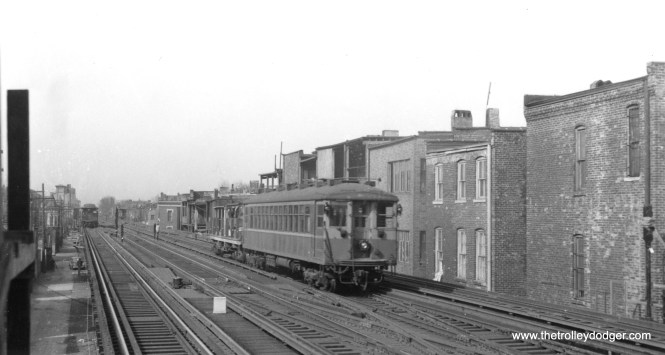 Here, a CRT 4000-series car is being used to haul a flatcar of some sort in work train service on the North Side, probably in the 1940s. (George Trapp Collection)