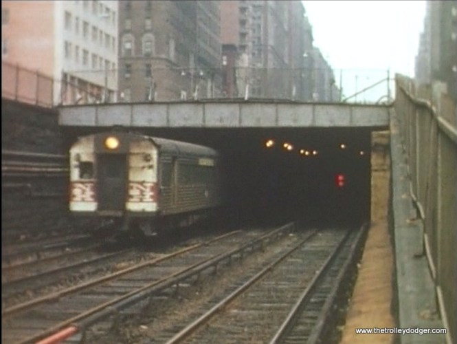 A New Haven train emerges from a tunnel in Manhattan.
