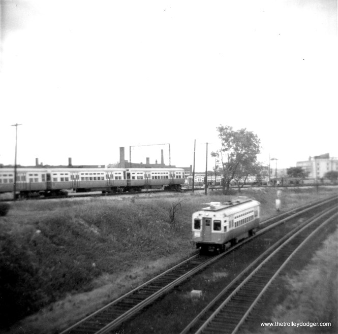 CTA 29 outbound from Howard on the new Skokie Swift in 1964. (George Trapp Photo)