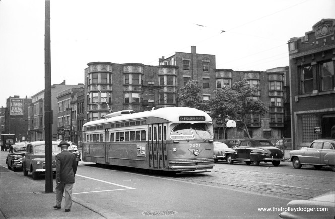 CTA 7051 is northbound at State and Delaware as a route 36 Broadway-State car in the early 1950s. (Walter Hulseweder Photo)