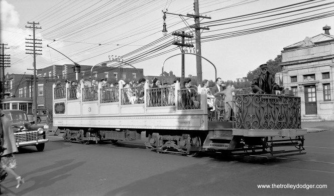 Montreal Tramways had four of these unique observation cars in their fleet, which were used for sightseeing tours. Here, car #3 is at St. Joseph's Shrine on August 14, 1948. All four cars have been preserved, and car 3 is now at Exporail, the Canadian Railway Museum. A few years ago, I rode the very similar car #2 at the Seashore Trolley Museum.
