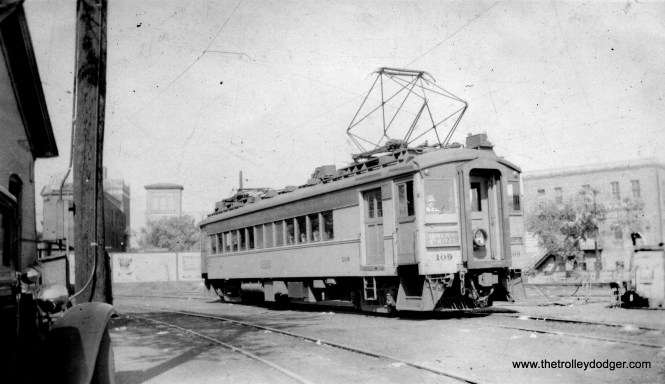 """This picture of CSS&SB 109 has been restored. The original was not properly fixed in development, and the print has continued to develop over the last 80 years. Eventually, it will fade out completely. Don's Rail Photos adds, """"109 was built by Pullman in 1926. It was lengthened in 1944. Air conditioning and picture windows came in 1949."""" (James B. M. Johnson Photo)"""