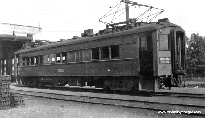 """South Shore Line car 37. Don's Rail Photos: """"37 was built by Standard Car in 1929,, #P-3380. It was air conditioned and sold to IRM in 1983."""""""