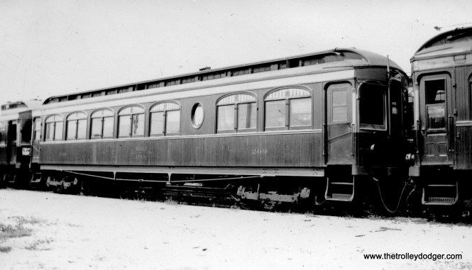 """Caption: """"Chicago, Aurora & Elgin trailer 209. This car has controls (like CSS&SB 207) but no motors. Built by Niles."""" Don's Rail Photos: """"""""Carolyn"""" was built by Niles Car in 1904. It was rebuilt as 209, a trailer coach, in 1924 and rebuilt in May 1939. It was retired in 1959."""""""
