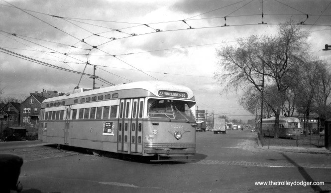 Here, CTA 4232 is entering the loop at 80th and Vincennes in May 1953.
