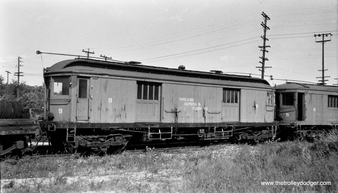 Here, we see freight motor 9 at Wheaton in 1947. (Walter Broschart Photo)