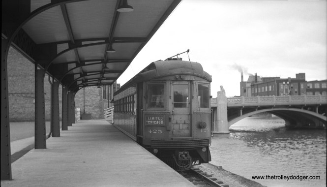 Here is 425 at the Aurora terminal in October 1949. While the CA&E used third rail extensively, the Aurora and Elgin terminals had overhead wire. This terminal replaced street running in downtown Aurora in the late 1930s. The 425 was built by Cincinnati Car Co. in 1927.