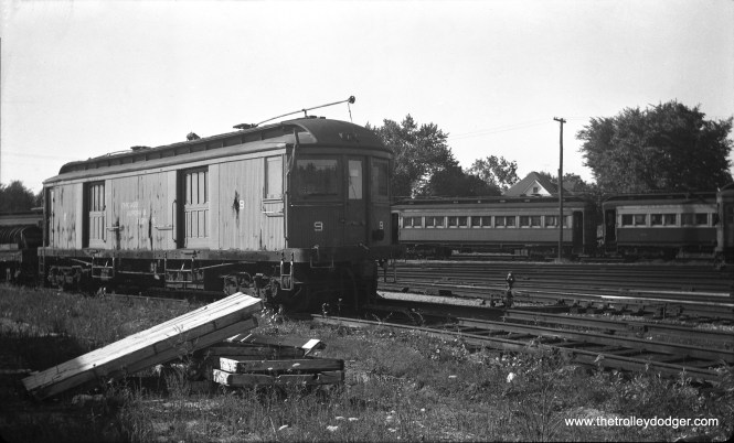 """Don's Rai Photos: """"9 was built by Niles Car in 1907. It was scrapped in 1959."""" This picture was taken at Wheaton in April 1952."""