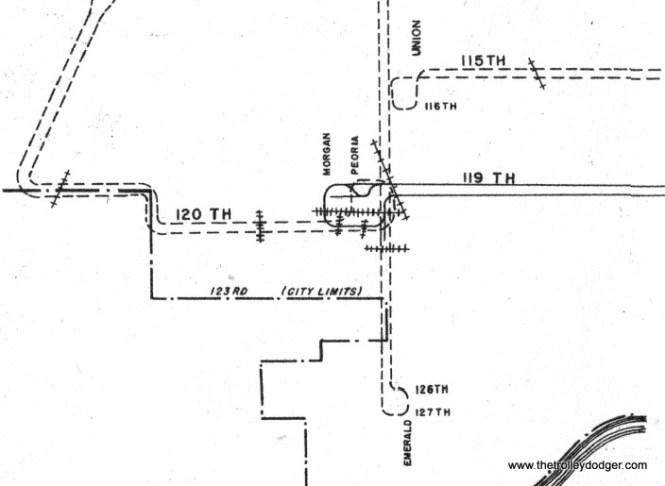 "This enlargement from the 1952 CTA supervisor's track map shows how route 36 streetcars turned around at 120th and Morgan and where they crossed various railroad tracks. The track at an angle was the old PRR ""Panhandle"" route that went between Chicago and Logansport, Indiana. It was abandoned in the Conrail days."