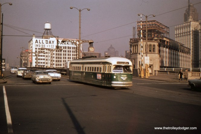 CTA 7193 heads south on State Street in the 1950s.