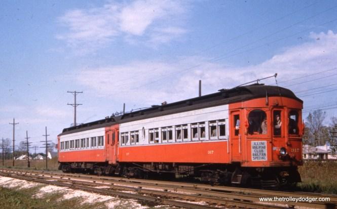CA&E 317 and 316 on an Illini Railroad Club fantrip in the 1950s.
