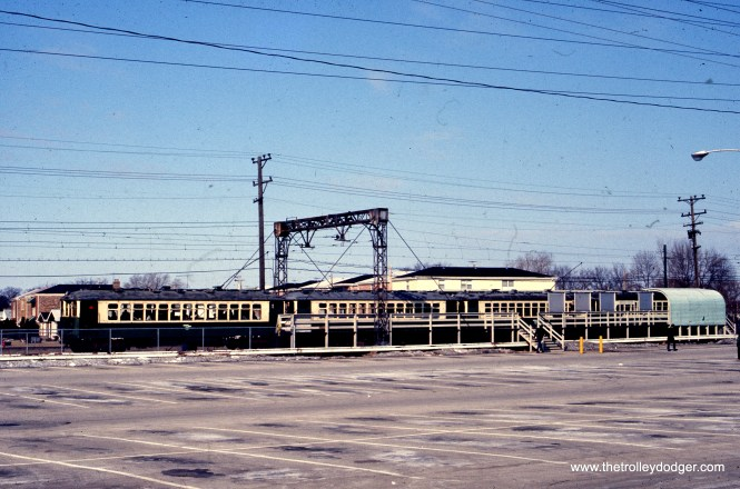 A train of CTA 4000s on a fantrip on the Skokie Swift (today's Yellow Line). These were last used in regular service in 1973, but this slide is dated March 1975. (Rex K. Nelson Photo)