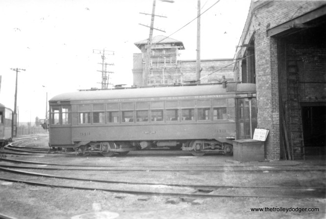#2 Waukegan city car barn, North Chicago, Ill. This car long since scrapped, photo taken in September 1939.