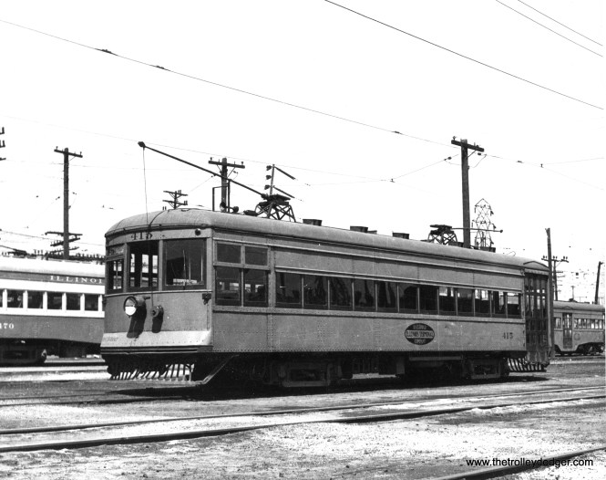"""Don's Rail Photos says: """"415 was built by St Louis Car Co in 1924, #1324, as CO&P (Chicago, Ottawa & Peoria) 64. It became C&IV (Chicago & Illinois Valley) 64 in 1929. It was rebuilt as IT (Illinois Terminal) 415 on September 16, 1934. and sold to Illinois Electric Railway Museum on October 19, 1956."""""""