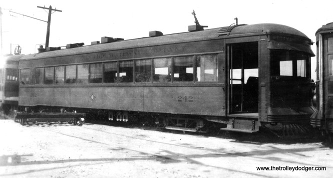 """Chicago and Joliet Electric car 242, known as the """"Ottawa,"""" after the 1934 abandonment."""