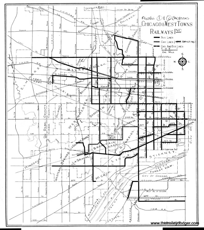 A Chicago & West Towns route map, from April 1942. By this time, only three streetcar lines were left: LaGrange, Lake, and Madison. The owner of the map crossed out (with has marks) some routes that were abandoned later. There was, by 1942, no track connection between the two north side lines and the LaGrange line. When the Lake and Madison lines were finally bustituted, the remaining streetcar fleet was moved at night in 1947 on a circuitous route via Chicago Surface Lines trackage.