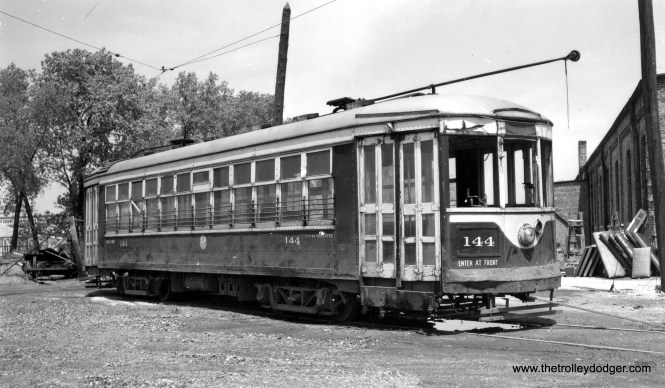 "C&WT 144 at the North Riverside car barn. Don's Rail Photos: ""144 was built by McGuire-Cummings in 1924. It was scrapped in 1947."" (Joe L. Diaz Photo)"