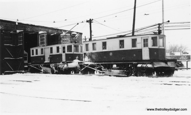"C&WT snow sweepers 9 and 5 in their element at the North Riverside car barn. Don's Rail Photso: ""5 was built by McGuire-Cummings in 1913. It was scrapped in 1948. 9 was built by McGuire-Cummings in 1928. It was sold to Sand Springs Ry in 1948."" (Joe L. Diaz Photo)"