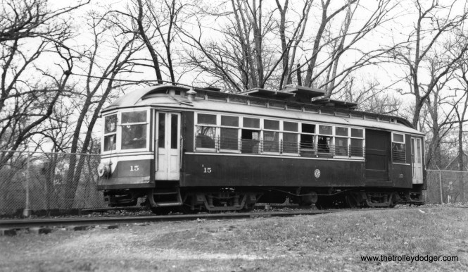 "C&WT line car 15 at an undetermined location. Don's Rail Photos: ""15 was built by Pullman Car in 1897 as Suburban RR 512. It was renumbered 515 and rebuilt as 15 in 1927. It was rebuilt in 1940 and scrapped in 1948."" (Joe L. Diaz Photo)"