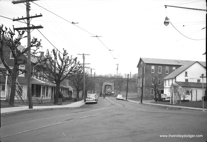 "Not sure offhand where this picture was taken, along the LVT Liberty Bell interurban route between Philadelphia and Allentown. Ed Skuchas: ""The ""tunnel"" photo is the underpass in Perkasie under the Reading tracks. Location is Walnut and 7th. The photo was taken from a block back at about 6th and Walnut."""