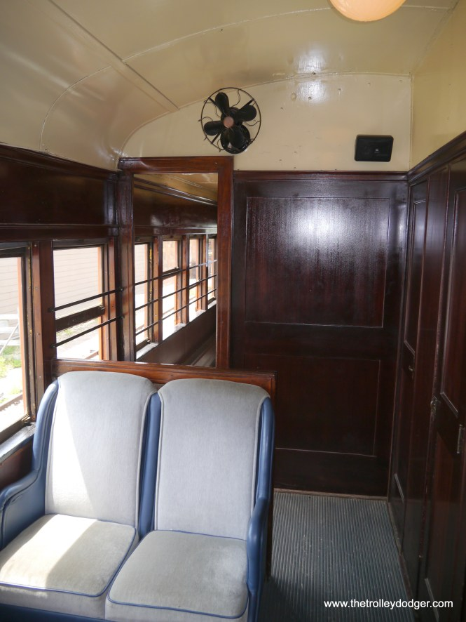 Car 30 still has its original mahogany wood, unlike the South Shore cars that were lengthened and modernized in the 1940s.