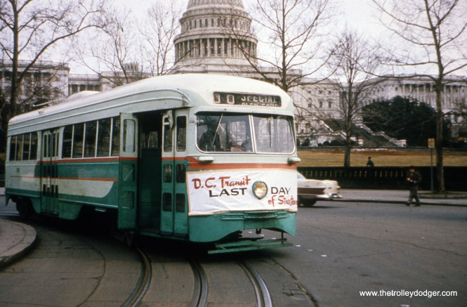 "Old-time railfanning was, unfortunately, often a series of ""lasts."" Here we see DC Transit 1101 at the Peace Monument in front of the Capitol building on January 27, 1962, the last day of service. Streetcars have since returned to Washington, D. C."