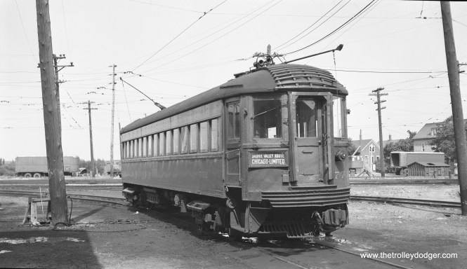 Chicago, North Shore & Milwaukee car 772 in 1959 at the barn lead to the Harrison Street Shops in Milwaukee..