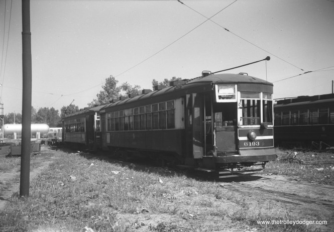 "CTA 6193, a ""169"" or Broadway-State car, was built by Cummings in 1923. It was converted to one-man operation in 1949 and has suffered some damage in this September 10, 1952 view at South Shops."
