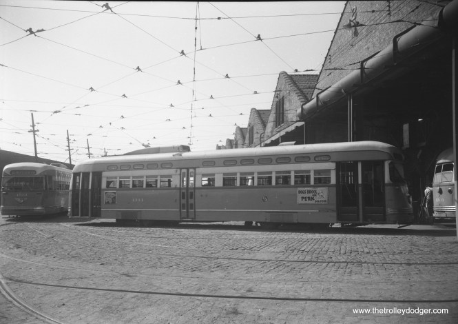 CTA 4314 and 4304 on the east side of South Shops, September 10, 1952.