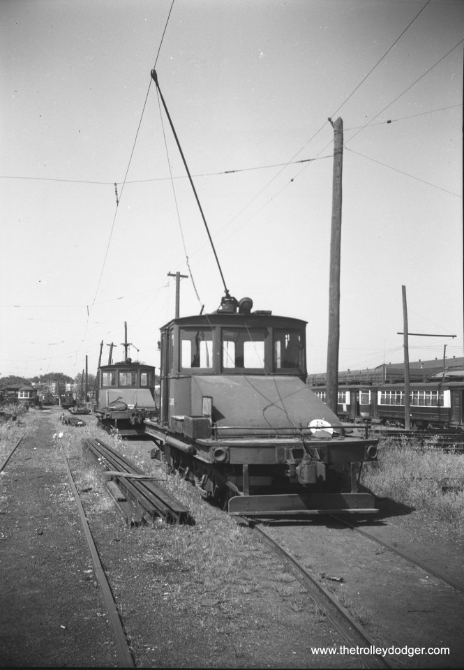 Two CTA freight locos at South Shops, September 10, 1952.