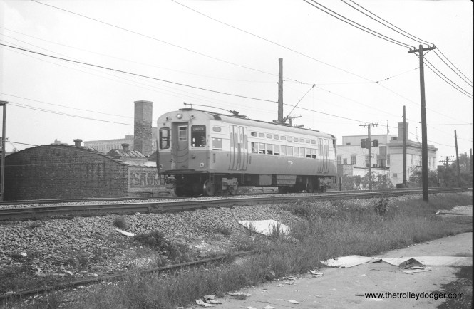 A CTA single-car unit under wire on the Evanston branch, just north of Main Street. This might be car 47.