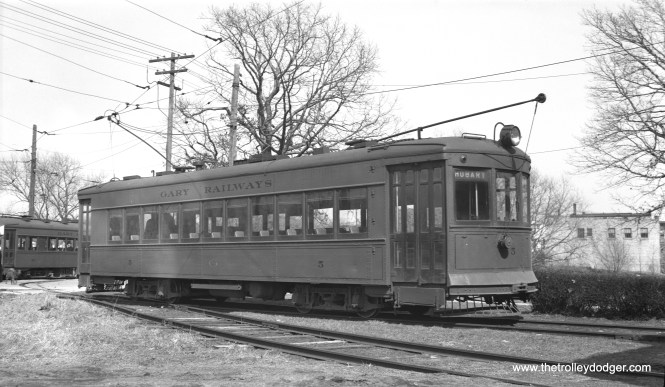 Gary Railways 5, a 1925 Kuhlman product, is shown at Indiana Harbor on May 1, 1938, date of the very first Central Electric Railfans' Association fantrip. (LaMar M. Kelley Photo)