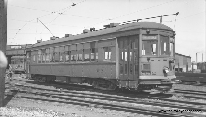 North Shore Line city streetcar 352 at Harrison Street Shops in Milwaukee, June 1941.