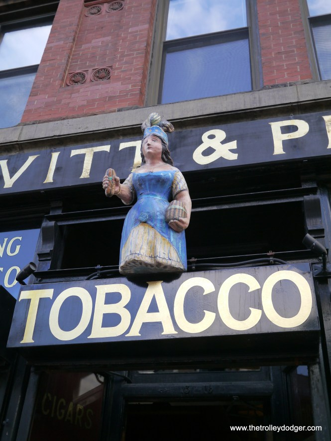 """This """"cigar store Indian"""" princess graces the store's entry way."""