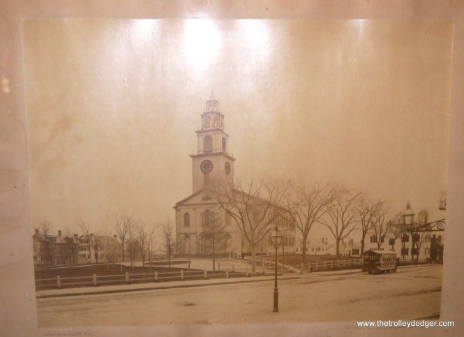 """While visting the Simon Willard House and Clock Museum, I was intrigued by this early photograph, which shows a horse car near the First Church of Roxbury. The picture was dated as """"circa 1910,"""" but must have been taken many years before that."""