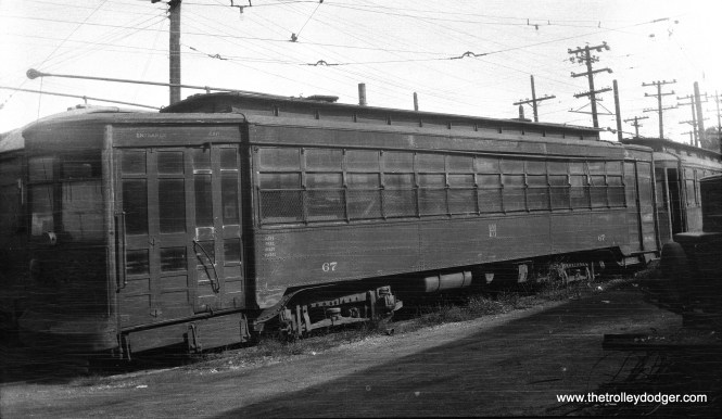 Hammond, Whiting & East Chicago car 67 was built by American Car in 1917 and was converted to one-man operation in 1932. Streetcar service ended in 1940. Notice how similar this car is to some operated by the Chicago Surface Lines. For much of its history, the HW&EC was run by the Calumet & South Chicago Railway, which became part of CSL in 1914.