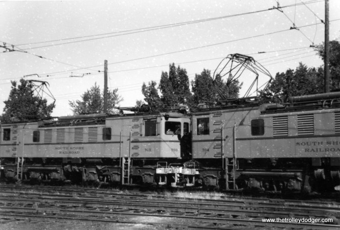 South Shore Line electric locos 703 and 704 in October 1960.