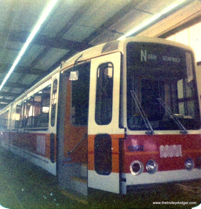My previous post did not mention the ill-fated Boston LRVs. But here is one of their SF Muni counterparts, being tested by the DOT at Pueblo on July 7, 1976.