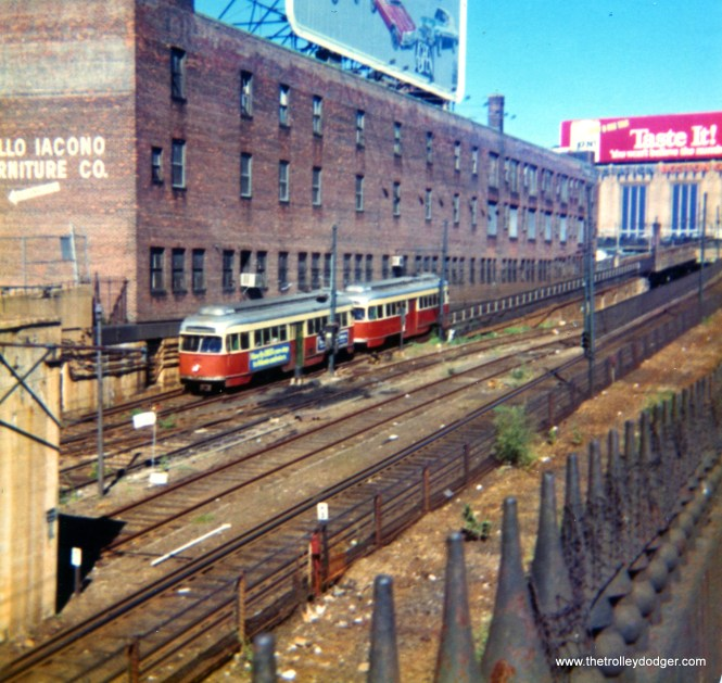 A two-car train of PCCs near North Station in Boston August 31, 1976. The nearby Boston Garden has since been torn down and rebuilt.