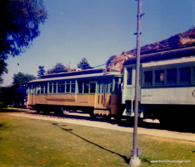 "A Los Angeles streetcar and a Pacific electric ""Blimp"" interurban at Griffith Park on July 5, 1977."