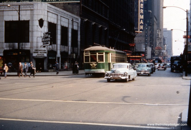 CTA 1750 heads west on Randolph Street, signed for Route 16 - Lake Street, circa 1952-54. In the background, we see the Sherman House Hotel, the old Greyhound Bus Terminal, and the Garrick Television Center.