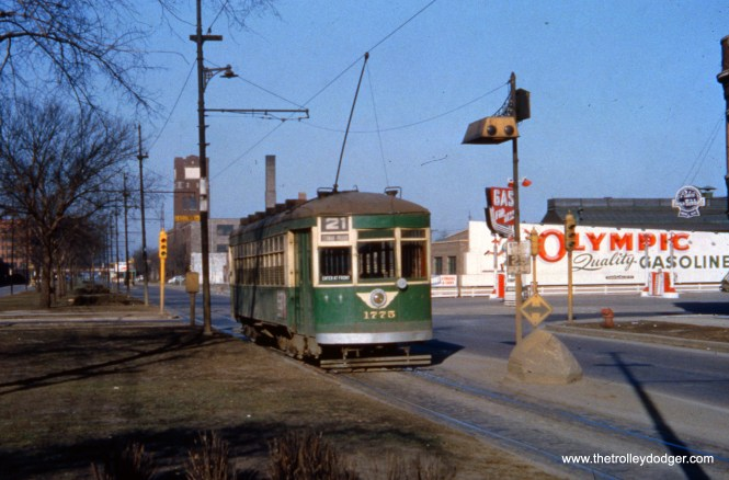 CTA 1775 heads west on Cermak Road at Kostner circa 1952-54. This photo gives you a good view of a Chicago safety island.