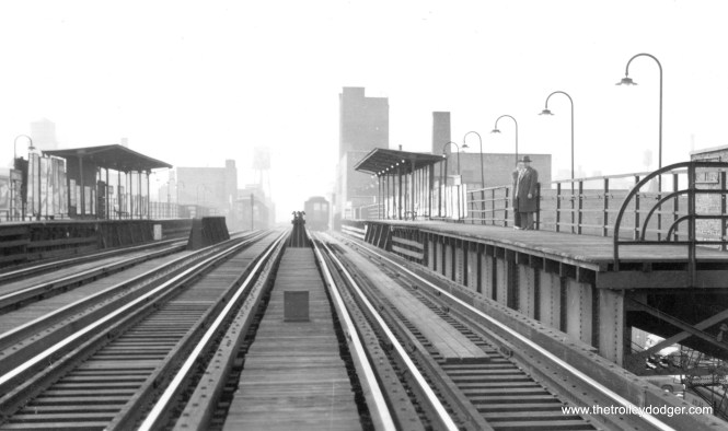 "The old Cermak Road station on the south Side ""L"". Note there are three tracks here. This station was closed in 1977 and removed. A new station replaced it in 2015."
