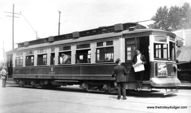"Chicago Surface Lines 2779 at Cicero and Montrose in 1934. This was the north end of the Cicero Avenue line. This car is part of a series known as ""Robertson Rebuilds,"" and was built by St. Louis Car Co. in 1903. (Edward Frank, Jr. Photo)"